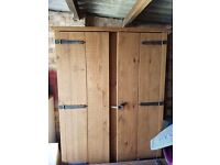 Solid oak double wardrobe and matching blanket box