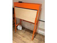 KEA PS 2014 Orange/birch veneer bureau/bookcase/writing Desk Cost £145