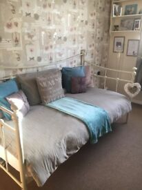 Cream single bed frame & mattress