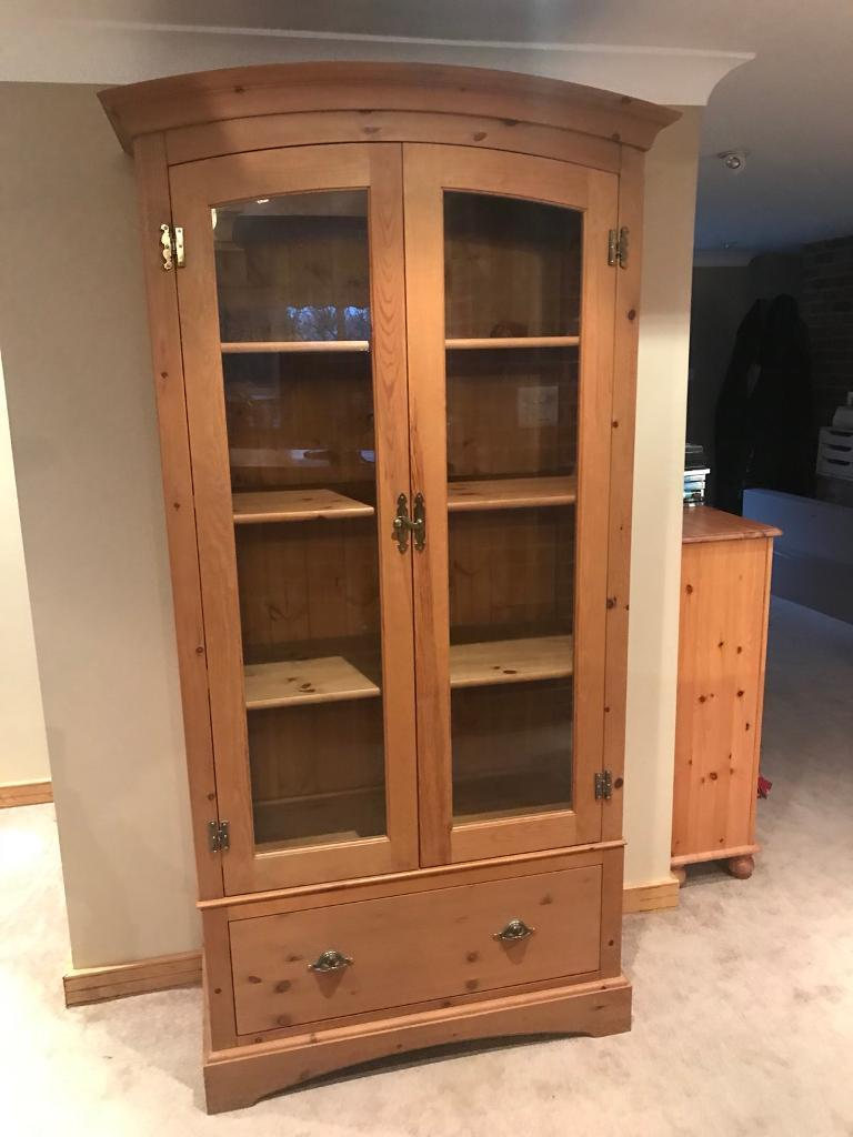 Glazed solid wooden display unit / cabinet - marks and spencer *REDUCED*