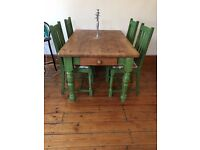 Country Shabby Chic 4 Seater Dining Table & Chairs