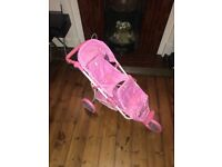 Hello Kitty pink double dolls stroller buggy