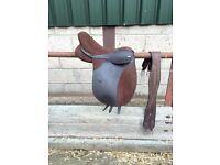 "17"" Thorowgood Brown Synthetic Saddle"