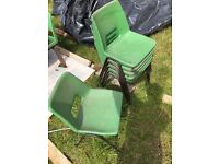 6 steel framed, moulded plastic dining chairs