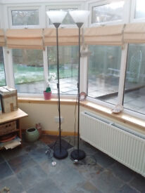 Floor Lamp Uplighter, x2, Black.