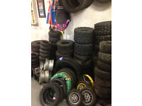 Selection of used quad tyres and rims