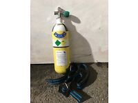 Scuba Diving Cylinder 3 litre Pony attachment recently tested A Clamp/ Din Valve