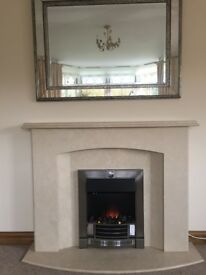 Marble fireplace in excellent condition with real flame electric fire