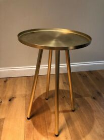 Made Alana Table / Bedside Table in Brushed Brass RRP £99