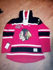 New NHL Ice Hockey Hoodies Jersey Chicago Blackhawks Kane #88 Toews #19 L(50) XL(52)