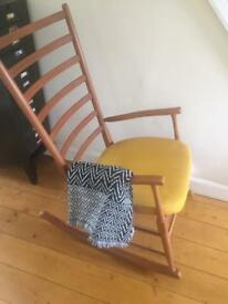 Vintage retro rocking chair mid century ladder back rocking chair danish /vintage/shaker style