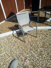 aluminium 2 director type chairs and 2 adjustable/lounger chairs