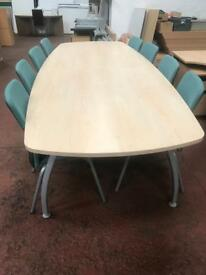 10ft Maple Conference Table & 10 x Chairs