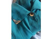 Green emerald teal collared blouse with gold accents