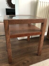 Walnut Wood, glass top Side Table