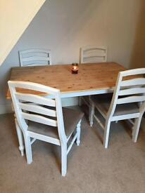 Dining table shabby chic 4 chairs and a bench