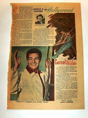 1952 - CORNEL WILDE - Louella Parsons gossip column - framable