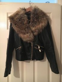 River island leather jacket with faux fur collar