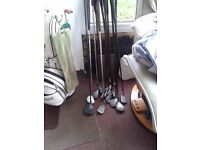 golf clubs right hand full set of irons plus woods etc zebra putter