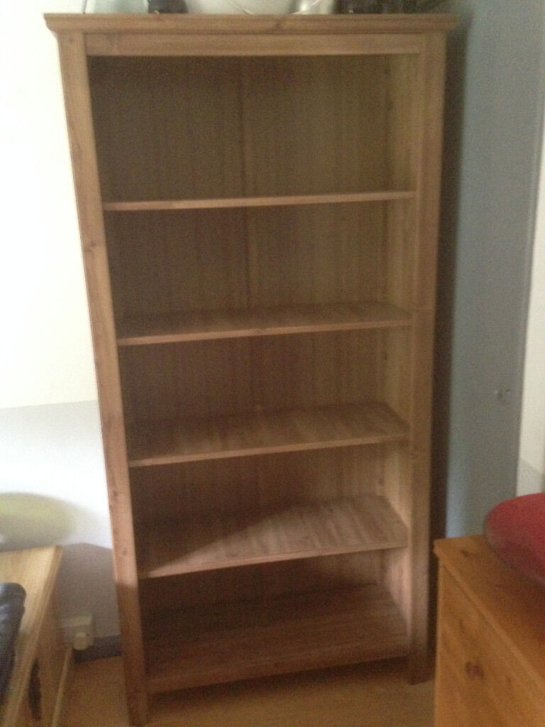 Ikea grevback large antique pine effect bookcase in for Pine desk ikea