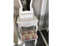 Small White Dressing Table and Stool