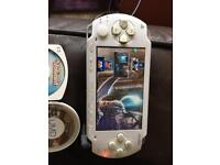 White PSP with games and movies