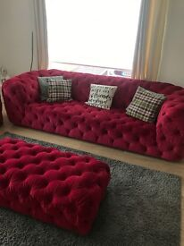 Pink chesterfield large 3 and 2 seater with foot stool