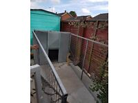large galvanized dog kennel and run