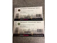 2 Olly Murs Tickets Bournemouth BIC 28/3/17 Seated Upper Balcony