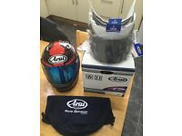 Arai Rebel Chronus helmet, as new, size L. Comes with 4 visors, box, and cover. All original Arai