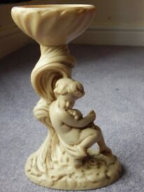 Resin carved candleholder centerpiece with cherub angel