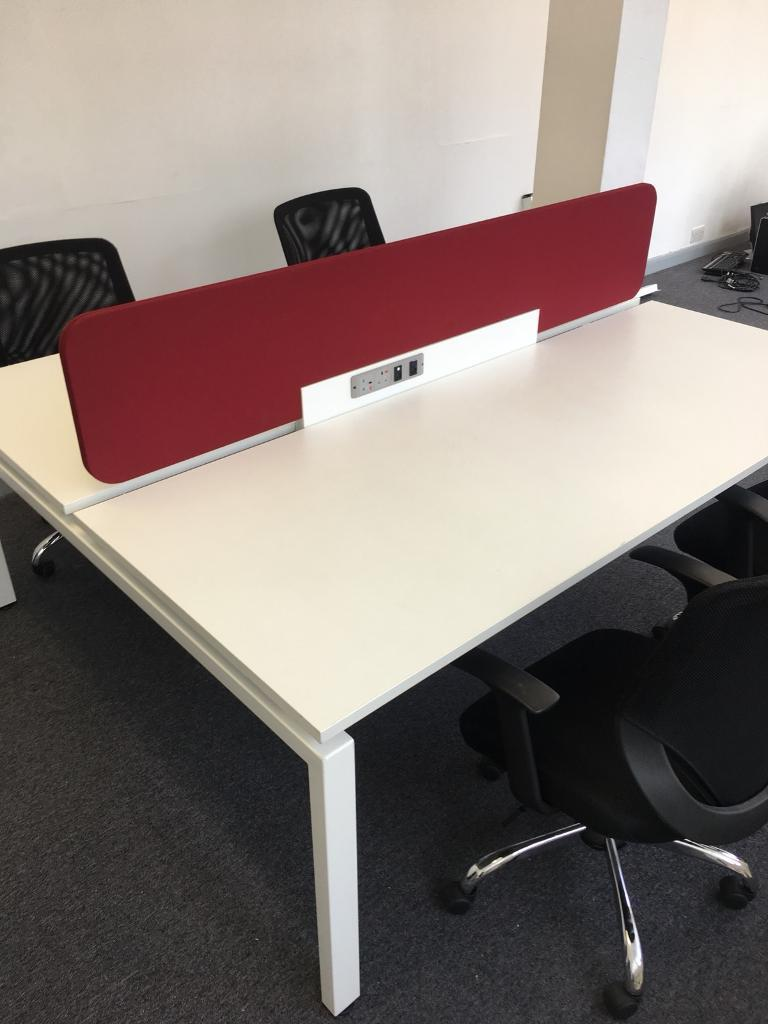 Four Man Workstation | Office Desks / Tables with Dividers | Data & Power Banks