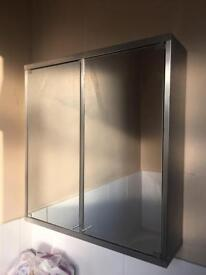 Metal bathroom cabinet with door mirrors