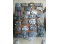 Belt buckles and leather belts