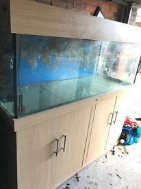 5x2x2 ft Beach wood marine reef tropical fish tank aquarium with setup