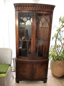 Antique style glass display or drinks cabinet