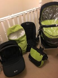 Green silver cross wafer pushchair with all accessories