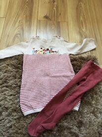 Girls dress and tights set 3 - 6 months