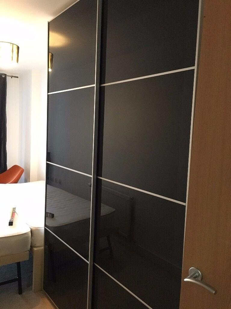 10 Kitchen And Home Decor Items Every 20 Something Needs: IKEA Pax Sliding Door Wardrobe White And Uggdal Black Grey
