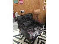Fabric floral grey armchair