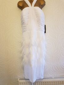 White feathered cocktail dress size 12/14