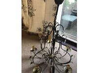 Laura Ashley chandelier with 2 matching wall lights
