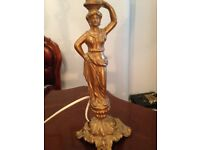 Art nouveau art deco gold table lamp roman greek style ORNATE vintage