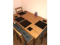 Dining table and chairs with cushions & table mats