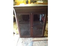 Oak top corner glass cupboard
