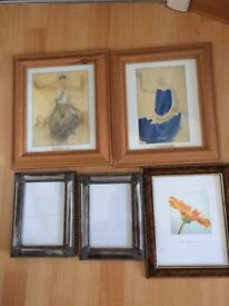 Five picture frames, different sizes