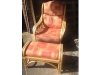 Consveratory rattan chair and footstool