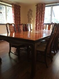 walnut dinning table and chairs