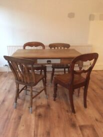 Dining Room Table and 4 mismatch chairs