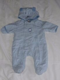 Lovely Blue Chequered Snowsuit by Next 0-3 months